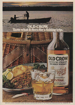 1973 Old Crow Whiskey: Fishing Trip Vintage Print Ad
