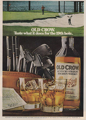 1973 Old Crow: Taste What It Does for the 19th Hole Vintage Print Ad