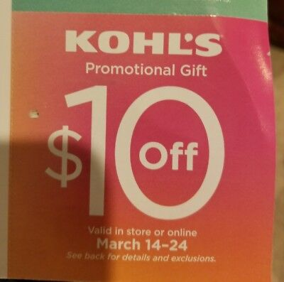(2x)$10 off Kohl's promo Gifts. Valid 3/14-24....$20 value