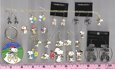 26 piece Peanuts lot > Snoopy & Lucy > earrings, pins, rings, keychain, necklace