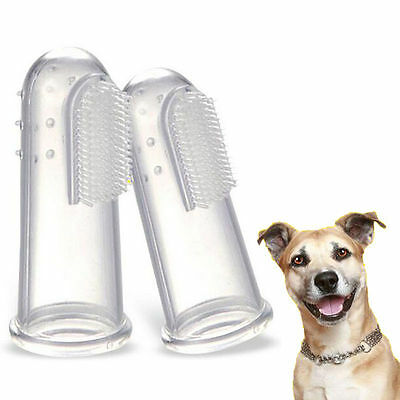 2Pcs Soft Finger Toothbrush Pet Dog Oral Dental Cleaning Teeth Care Brush Safe