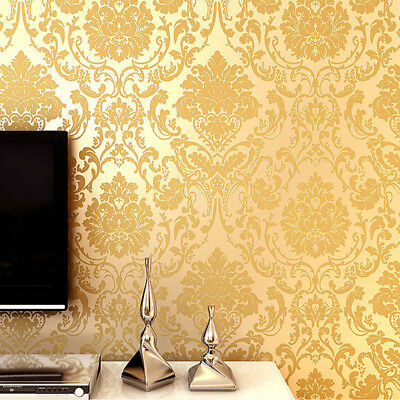 10M WALLPAPER Roll Textured Embossed Printing Decal Floral Home Source · Luxury Gold Damask Wallpaper Embossed