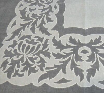 """Vintage Madeira Organdy & Linen Tablecloth 105""""x64"""" Bold Leafy Floral - """"AS IS"""""""
