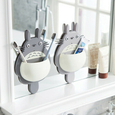 Cute Totoro Bathroom Toothbrush Toothpaste Holder Stand Suction Razor Organizer