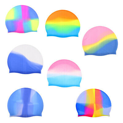 Unisex Adult Kids Waterproof Silicone Swimming Pool Cap Swim Shower Bath Hat