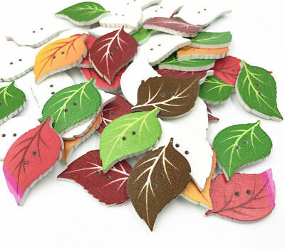 50X Wood Button mixed color Leaf shape decoration sewing craft scrapbooking 34mm