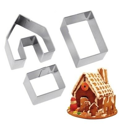 3PC Mini Gingerbread House Cookie Cutter Set Stainless Steel Biscuit Mold Mould