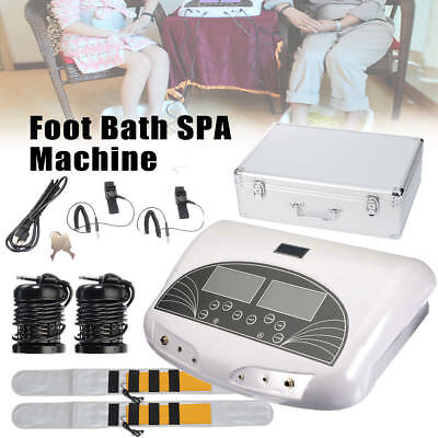 LCD Dual Ion ionische Zelle Aqua Foot Bad Spa Detox Cleanse Machine + Gürtel