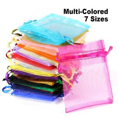 25-100PCS Organza Gift Bags Jewellery Present Pouches Wedding Party Candy Favour