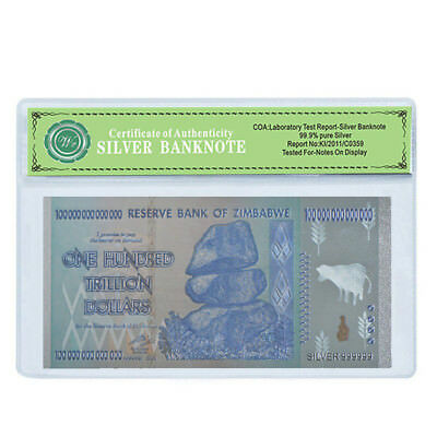 WR Zimbabwe 100 Trillion Dollars Note Silver Foil Plated Novelty Banknote /w COA