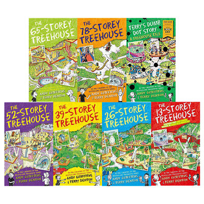 Andy Griffiths Collection Treehouse Series 7 Books Set Terry's Dumb Dot Story