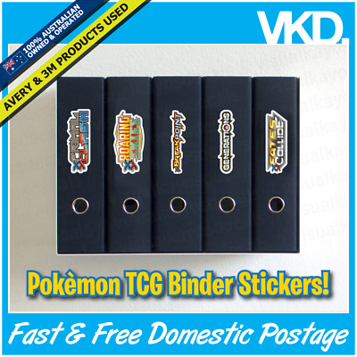 Pokemon Folder Decals/ Stickers/ Labels - Sun & Moon Series Set Binders Full Art