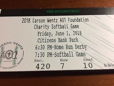 Carson Wentz AO1 Foundation Charity Softball Game 6/1/18 at Citizens Bank Park