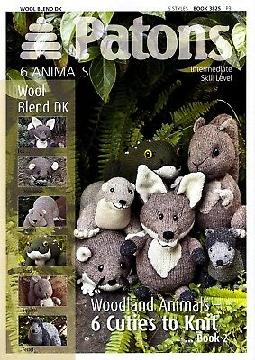 Patons Knitting Patten Book 2 3825 knitted Woodland Animals + free needles