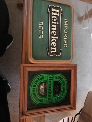 Vintage Heineken Lager Glass Beer Sign with Foil Art and Wood Frame + Another 2