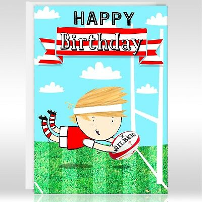 Happy Birthday Greetings Card Male Rugby Design Sport In Other