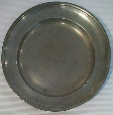 """Antique Early 1836 Pewter 8 3/4"""" Plate Rim Markings"""