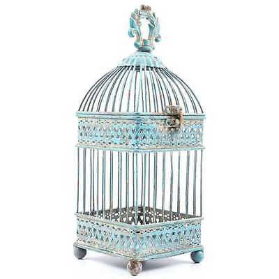 Gorgeous Antique Style Blue Iron Bird Cage shabby Home Decor
