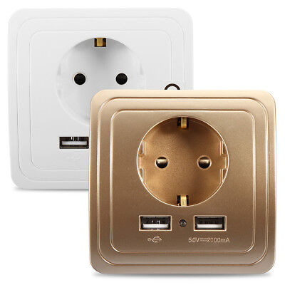 2,1A Dual USB Ports Wall Charger Power Adapter Socket Outlet Panel EU Plug Mount