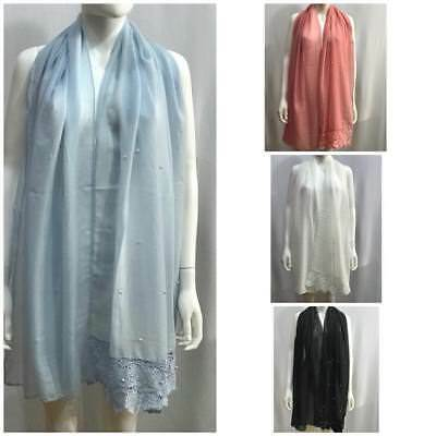 Women New Pearl Lace Plain Cotton Shawl Scarf Hijab Sarong Wrap Stole Scarves