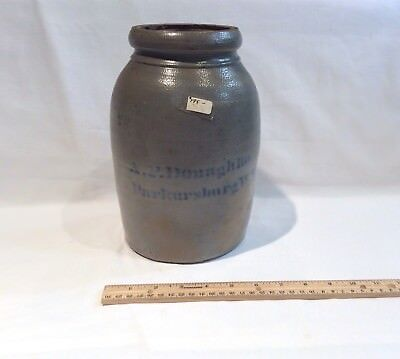 Antique A.P. Donaghho Parkersburg, WV Stoneware Salt Glaze Crock Wax Sealer Jar