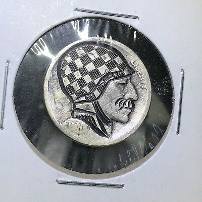 Jerry Was A Race Car Driver Hand Carved Classic Original Hobo Nickel Coin Art
