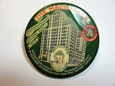 Vintage Celluloid Pocket Mirror Advertising  The Maccabees Ass,n.