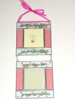 Leaded Stained Glass CARR Picture Frame Pink Pressed Flowers Double Hanging