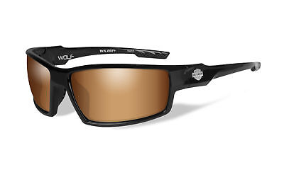 a77f4ded92 Harley-Davidson® Wiley-X Wolf Black Sunglasses with Bronze Flash Lens  HAWOL06