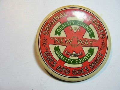 Vintage Celluloid Pocket Mirror Advertising  The New Way Engine Air Cooled