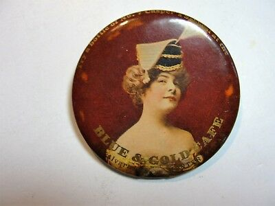 Vintage Celluloid Pocket Mirror Advertising  The Blue And Gold Cafe