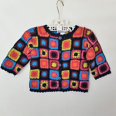 Crochet Granny Square Sweater Cardigan Vintage 2T Black Colorful Boho Baby