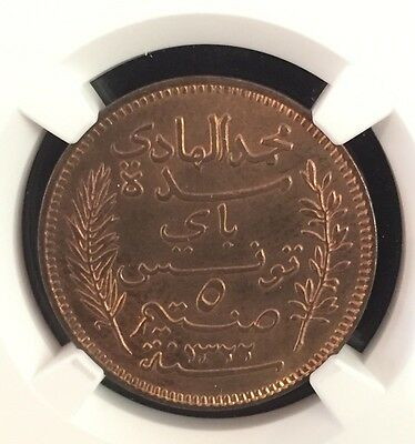 1322//1904 A Tunisia 5 Centimes Ngc Ms 64 Red Brown Pop.24
