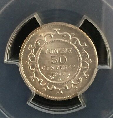 1916-A Tunisia 50 Centimes Lec-164 Pcgs Ms64 Pop.3