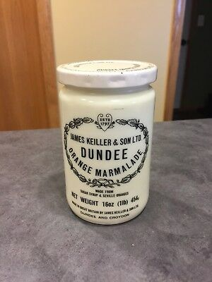 James Keiller & Sons Dundee Orange Marmalade Jar Milk Glass 16 Oz W/lid