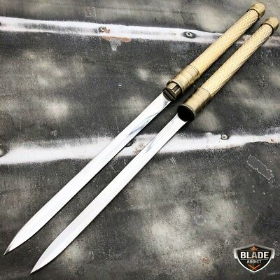 "25"" NINJA SAMURAI Dual Blade TWIN SWORDS Katana Japanese Combat COSPLAY GOLD New"