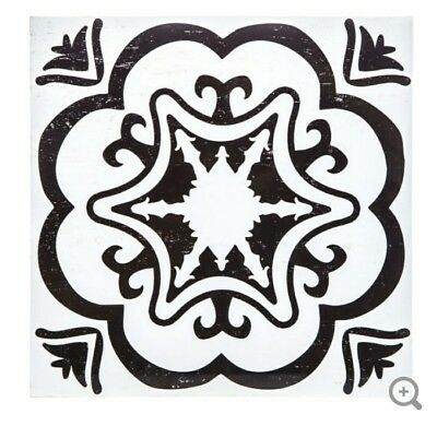 Black & White Floral Medallion Tile Wood Wall Decor Moroccan Modern Style