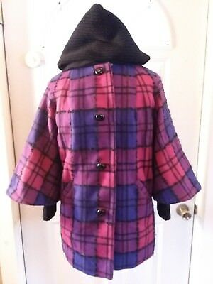 vtg womens coat bat wing mod geometric plaid purple pink hood union made 60s 70s