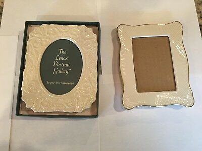 2 Lenox 3 1/2 x 5 inch Ivory Porcelain Picture Frames (one is unused in box)