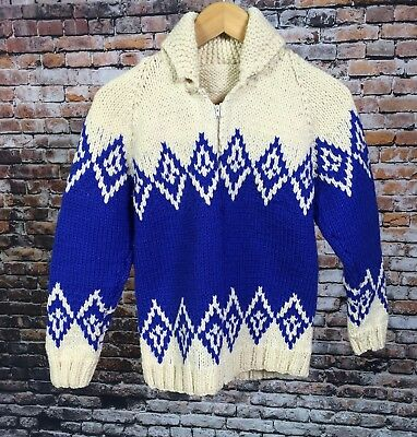 VTG 1960's Boys Cowichan Sweater Two Tone Full Zip Wool Skiing Outdoors No Size