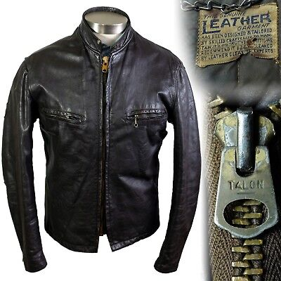 Vintage 1960s 1970s Fidelity cafe racer brown leather motorcycle jacket 40