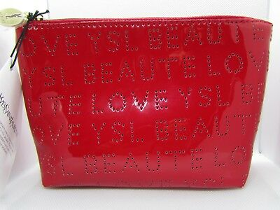 470c07a38a12 YSL Yves Saint Laurent Beaute Love Red Patent Makeup Cosmetic Bag Pouch