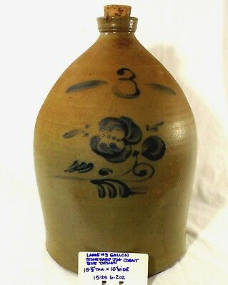 Antique 3 Gallon stoneware jug 19th Century Cobalt Blue decorated w decoration