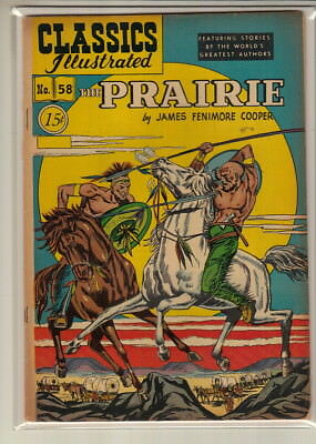 CLASSICS ILLUSTRATED #58 Fine The Prairie by James Fenimore Cooper HRN 78 A65594
