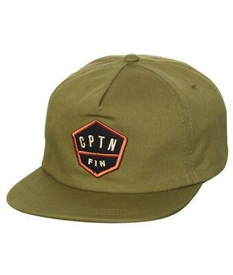 18eac9c558ce3 Captain Fin HOME PLATE Mens 100% Cotton Adjustable Snapback Hat Olive NEW  2018