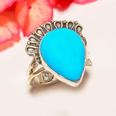 Egyptian Sleeping Beauty Turquoise vintage Style 925 Sterling Silver Ring 7