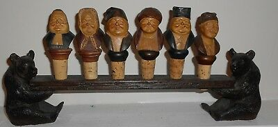 MUSEUM QUALITY Antique Black Forest Carved  Display of BEARS & BOTTLE Stoppers.