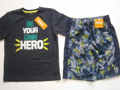 NWT Gymboree boy size 5-6 Gymgo 2 pc Athletic outfit active shorts Navy Hero top