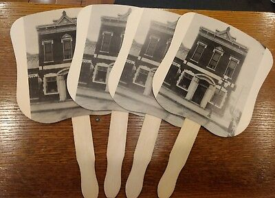First National Bank of Morton, Illinois Hand Fan Wood Handle 1888-1988 Lot of 4