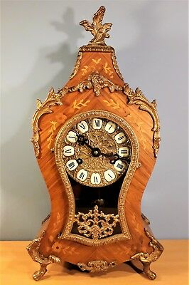 Franz Hermle Inlaid Mantel Bracket Clock, Louis XV Style, Good Working Order